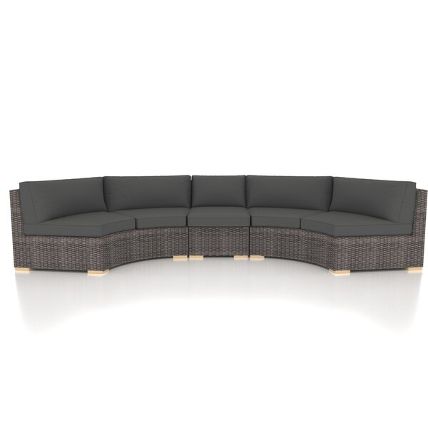 Holcomb 3 Piece Rattan Sectional Seating Group with Sunbrella Cushions by Rosecliff Heights