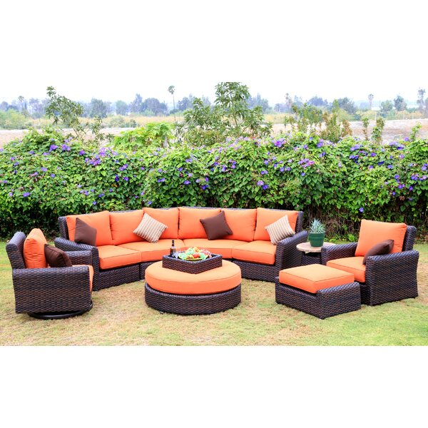 Serenity 8 Piece Sunbrella Sectional Seating Group with Cushions by World Wide Wicker