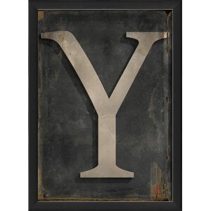 Letter Y Framed Textual Art by The Artwork Factory