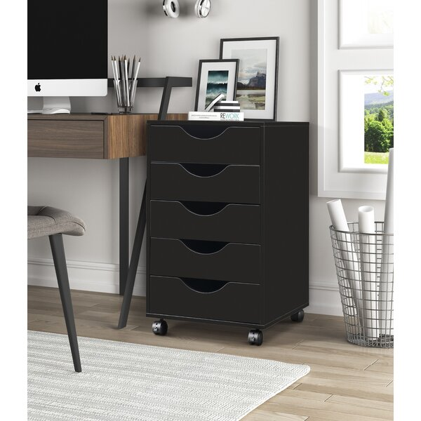 Alyciana Home Office 5-Drawer Mobile Vertical Filing Cabinet