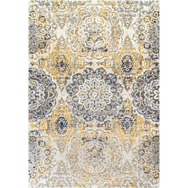 Kelvin Gold Area Rug by Bungalow Rose