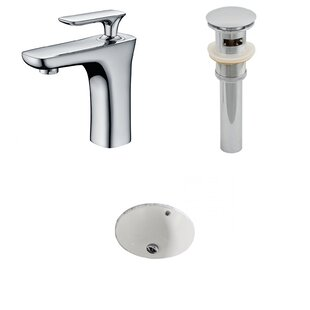 Coupon Ceramic Circular Undermount Bathroom Sink with Faucet and Overflow ByAmerican Imaginations