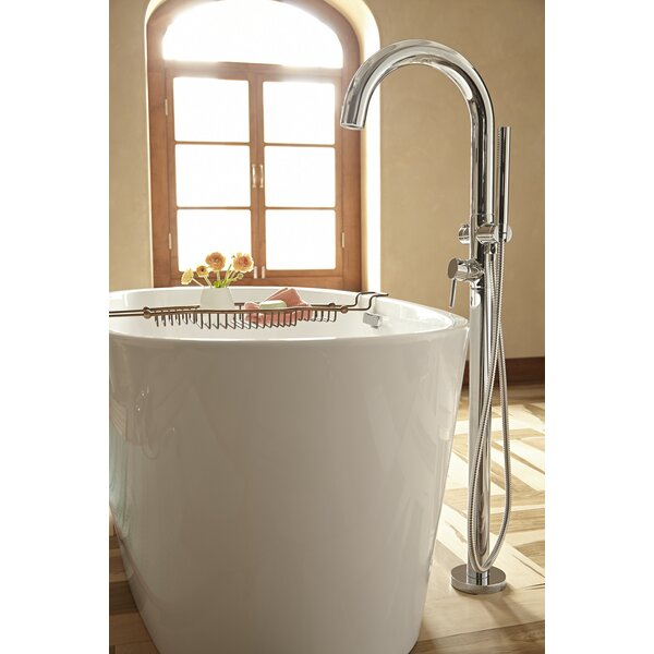 Single Handle Floor Mount Tub Filler with Personal