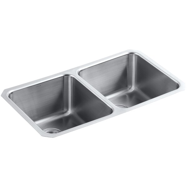 Undertone Preserve 31-3/4 L x 18 W x 9-1/2 Under-Mount Double-Equal Bowl Kitchen Sink by Kohler