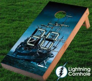 Electronic Scoring Pirate Ship Cornhole Board by Lightning Cornhole