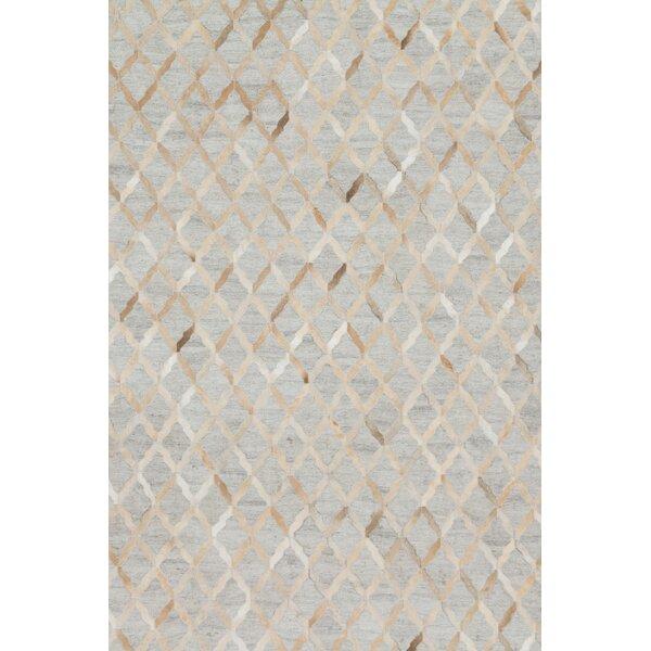 Winnett Hand-Woven Cowhide Beige/Gray Area Rug by Brayden Studio