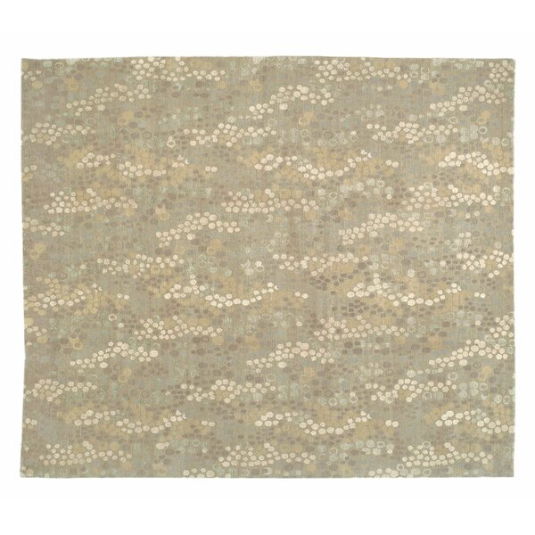 Abstract Hand-Knotted Wool/Silk Beige Area Rug