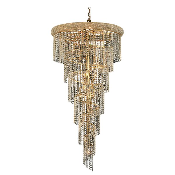 Mathilde 22 - Light Unique / Statement Tiered Chandelier With Crystal Accents By Everly Quinn