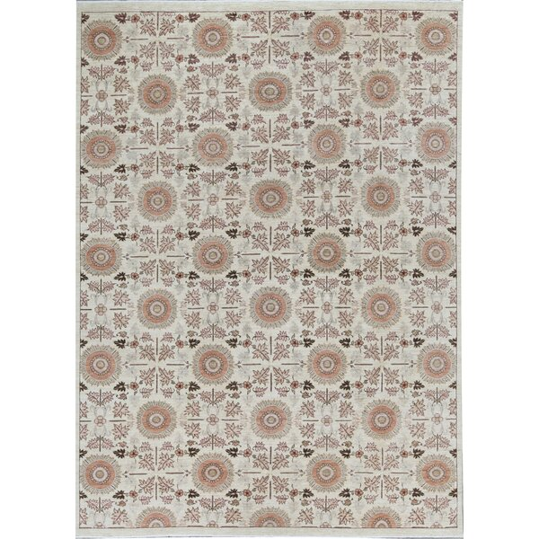 Ziegler Floral Hand-Knotted Wool Ivory Area Rug