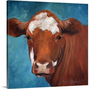 'Chocolate Cow' by Cheri Wollenberg Painting Print on Wrapped Canvas by Great Big Canvas