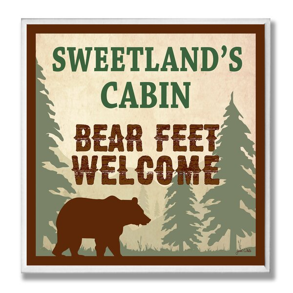 Personalized Cabin Bear Feet Welcome by Janet White Graphic Art Plaque by Stupell Industries