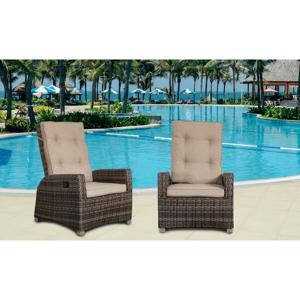 Callaway Outdoor Patio Chair with Cushion (Set of 2) by Highland Dunes