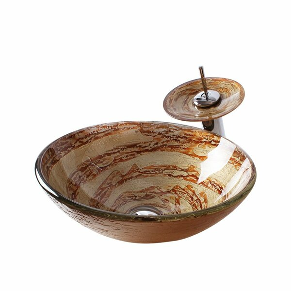 Glass Circular Vessel Bathroom Sink with Faucet by Arsumo