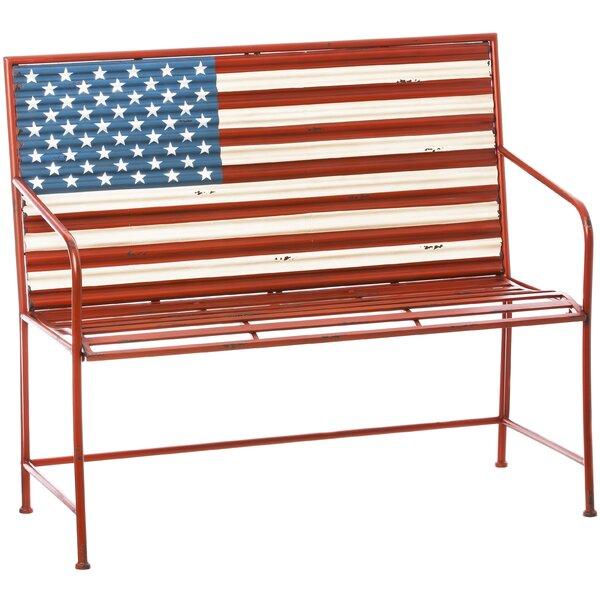 Bennie American Flag Metal Garden Bench by August Grove