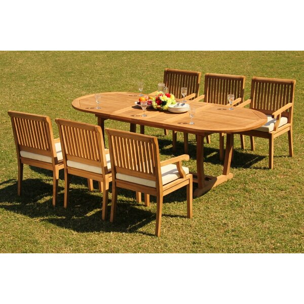 Treyton Luxurious 7 Piece Teak Dining Set by Rosecliff Heights