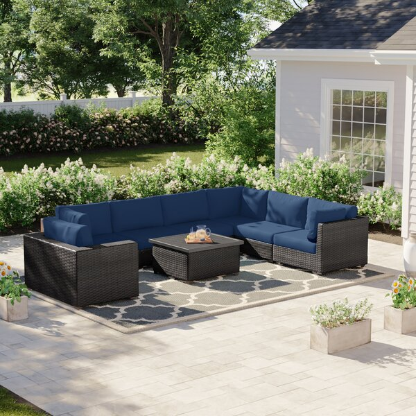 Fernando 8 Piece Sectional Seating Group with Cushions by Sol 72 Outdoor