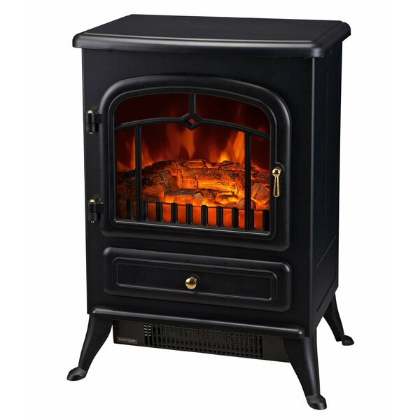 HomCom 16 1500W Free Standing Electric Wood Stove Fireplace Heater - Black by HomCom