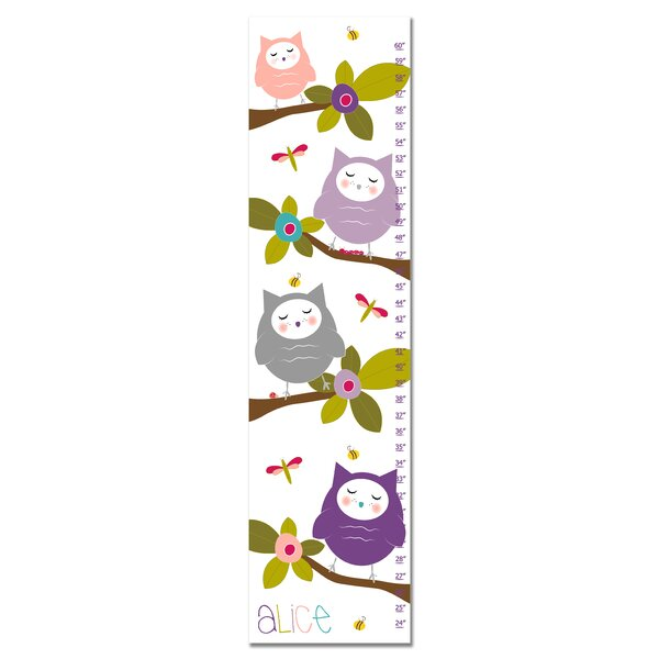 Haute-Marne Owls in Tree Personalized Growth Chart by Zoomie Kids
