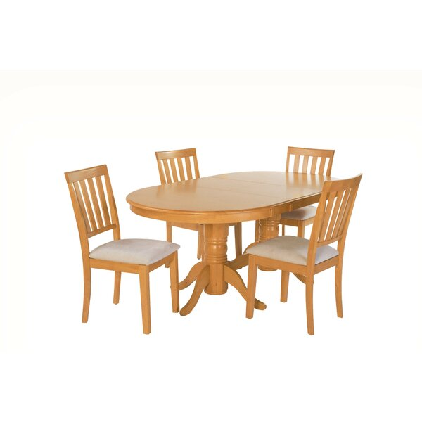 Inwood 5 Piece Extendable Solid Wood Dining Set by Darby Home Co