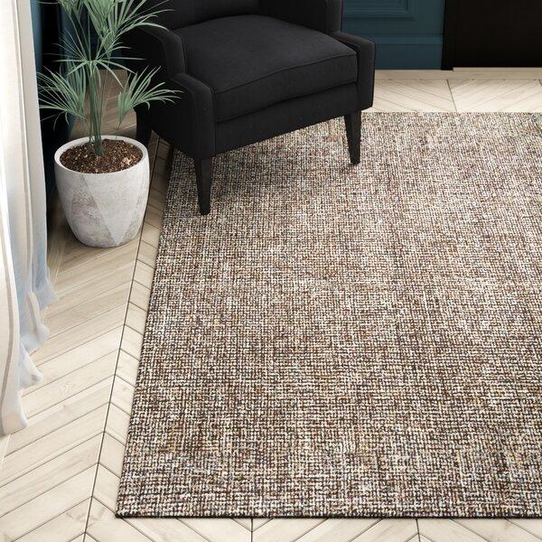 Malakoff Hand-Tufted Wool Dark Brown Area Rug by Greyleigh