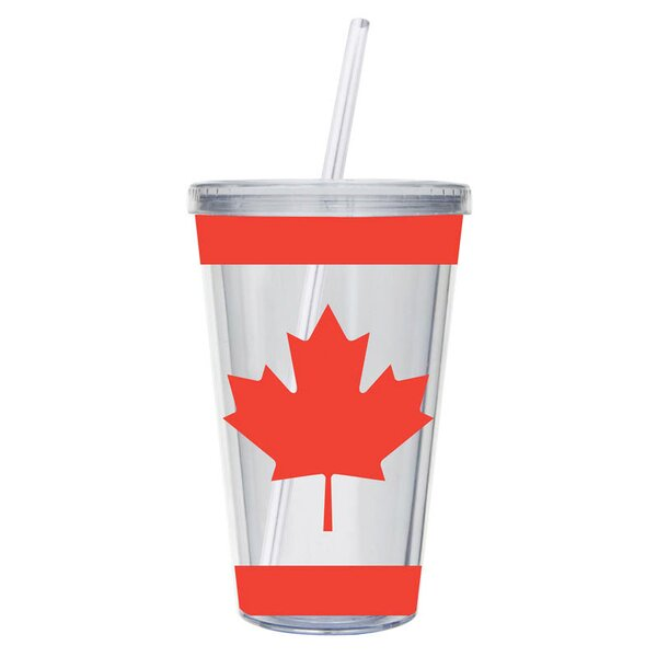 Canadian Maple Leaf 17 oz. Plastic Travel Tumbler by Cypress Home