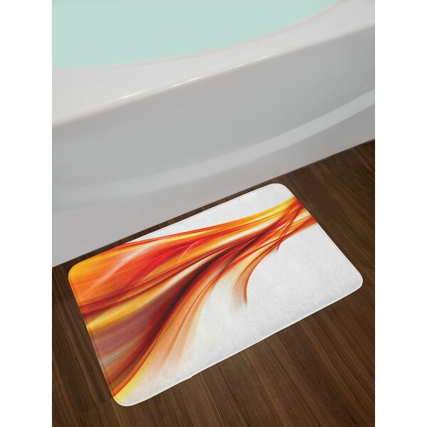 Abstract Smooth Lines Blurred Smock Art Flowing Rays Print Non-Slip Plush Bath Rug by East Urban Home
