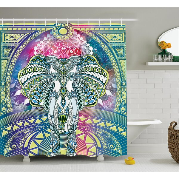 Alep Ancient Deity Elephant Shower Curtain by Bloomsbury Market
