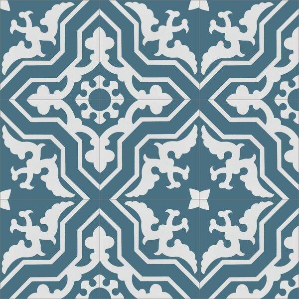 Talia Twilight 8 x 8 Cement Field Tile in Blue/White by Villa Lagoon Tile