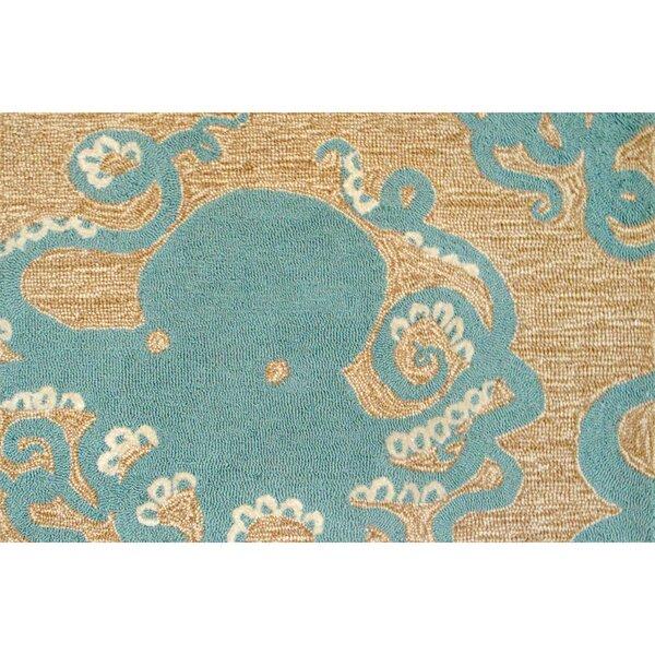Zipporah Octopus Hand-Tufted Teal Blue Indoor/Outdoor Area Rug by Highland Dunes