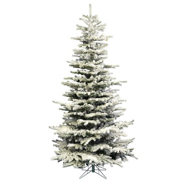Heavy Flocked Slim Green/White Artificial Christmas Tree with 250 Clear Lights by The Holiday Aisle