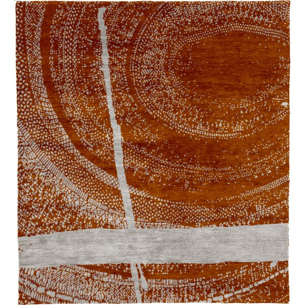 One-of-a-Kind DorotheaHand-Knotted Traditional Style Orange 6' x 9' Wool Area Rug