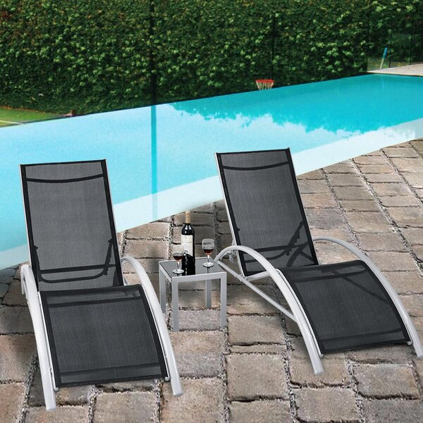 Jose 3 Piece Outdoor Patio Pool Lounger Reclining Chaise Lounge Set by Orren Ellis