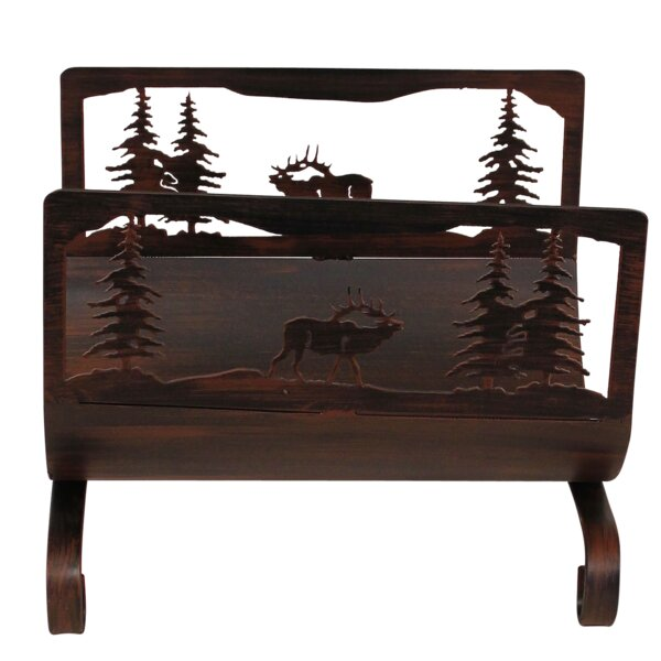 Elk Scene Wood Log Carrier by Coast Lamp Mfg.
