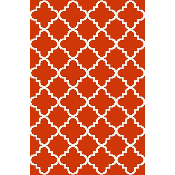 Hinman Moraccan Trellis Rubber Backed Red Area Rug by Winston Porter