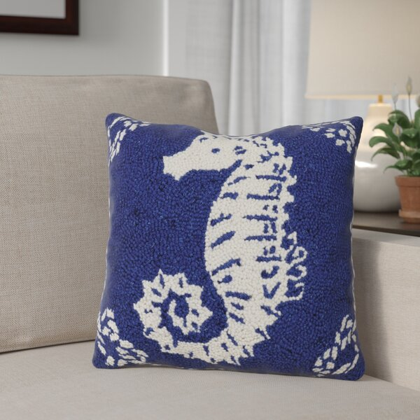 Dysart Seahorse Nautical Wool Throw Pillow by Breakwater Bay