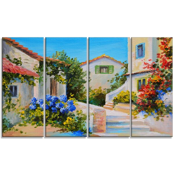 Houses near Sea Landscape 4 Piece Painting Print on Wrapped Canvas Set by Design Art