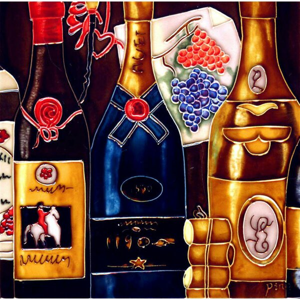 3 Wine Bottles 3 Corks Tile Wall Decor by Continental Art Center