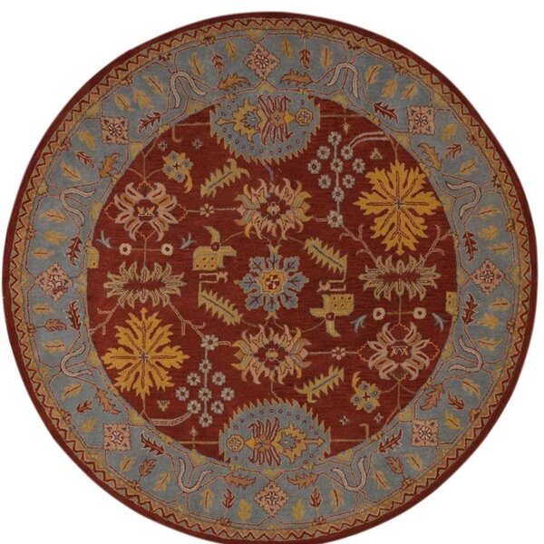 Auger Hand-Tufted Wool Red/Blue Area Rug by Bloomsbury Market