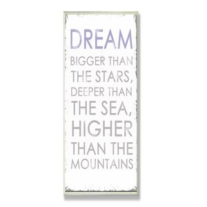 Dream Bigger Inspirational Textual Art Wall Plaque by Stupell Industries