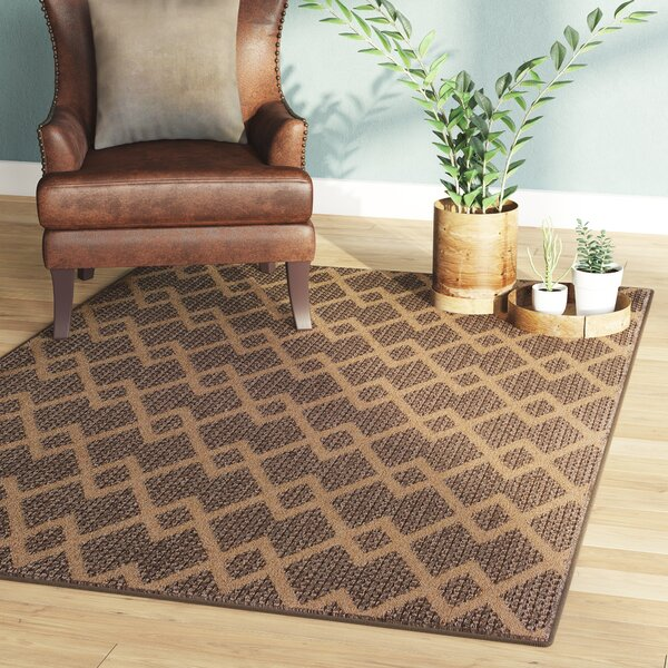 Annica Chevron Diamonds Brown Indoor/Outdoor Area Rug by Union Rustic