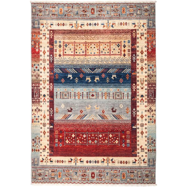 One-of-a-Kind Heinen Hand Knotted Wool Blue Area Rug by Bloomsbury Market