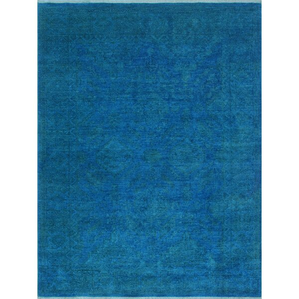 Blakeslee Oriental Hand Knotted Wool Rectangle Blue Area Rug by Bloomsbury Market
