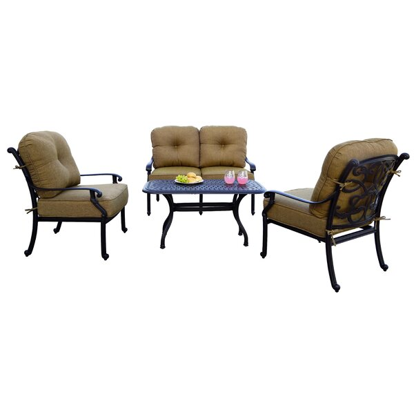 Calhoun 4 Piece Sofa Set with Cushions by Fleur De Lis Living