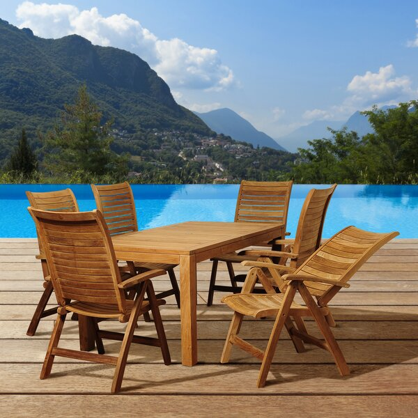 Bridgepointe 7 Piece Teak Dining Set by Rosecliff Heights