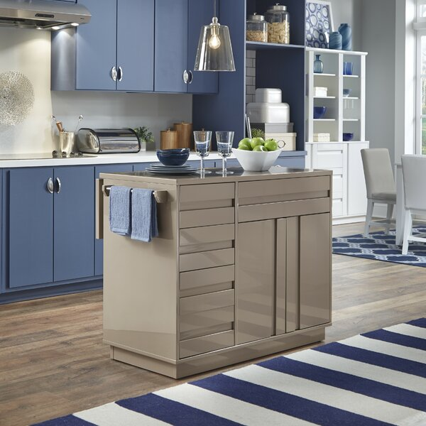 Emblyn Kitchen Island with Granite Top by Latitude Run