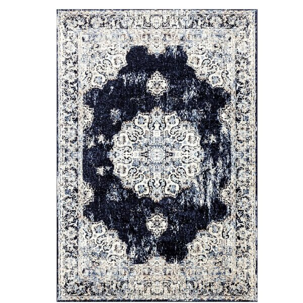 Castle Traditional Navy/Ivory Area Rug by Bungalow Rose