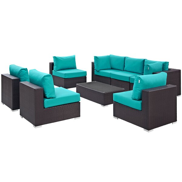 Brentwood 8 Piece Rattan Sectional Set with Cushions by Sol 72 Outdoor