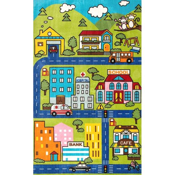 Corine Green/Brown Area Rug by Zoomie Kids