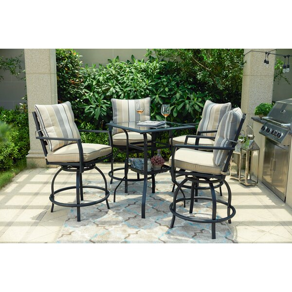 Aeliana High Swivel 5 Piece Dining Set with Cushions by Alcott Hill