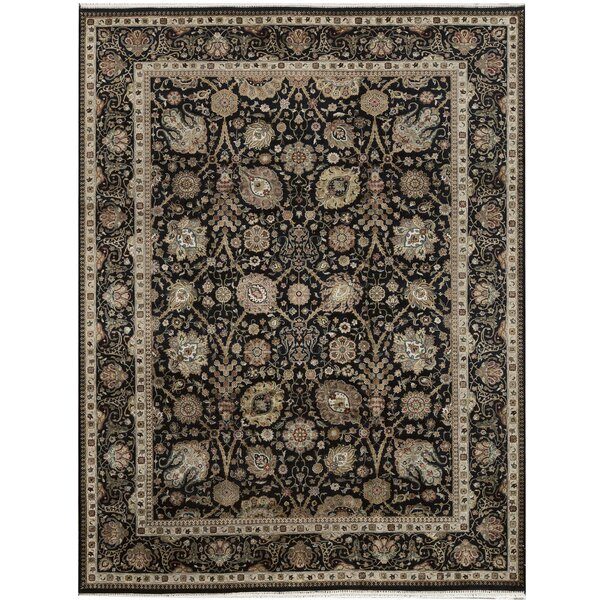 One-of-a-Kind Chantel Hand-Knotted Black 9' x 11'8 Area Rug
